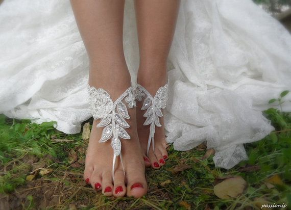 Beach Wedding,Barefoot Sandals, French lace, Nude shoes, , Foot jewelry,Wedding, Victorian Lace,Bridal Anklet , Belly Dance