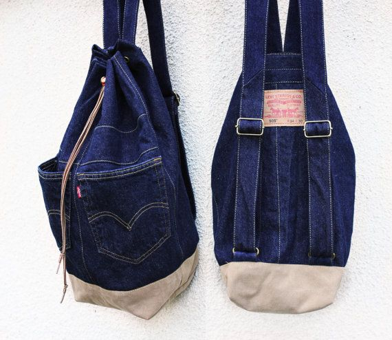 denim backpack upcycled jeans backpack big navy blue drawstring bucket bag 90s grunge hipster backpack eco friendly recycled repurposed