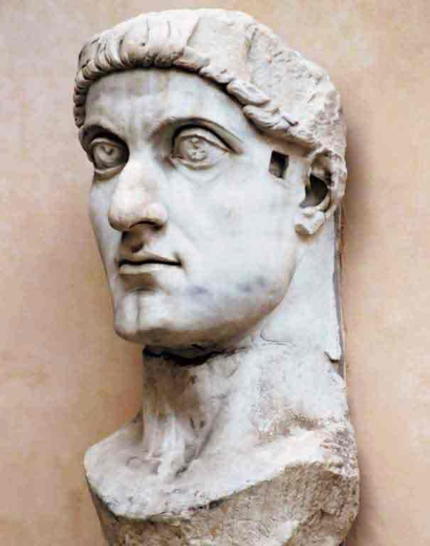 Colossal head of Emperor Constantine. The head, dating from 330 AD, measuring 2.60 meters (8.53 feet). It is what remains of a statue that had to reach a total height of 12 meters (39.37 feet), once placed in front of the Basilica of Maxentius. Today is exposed at Palazzo Conservatori in Rome