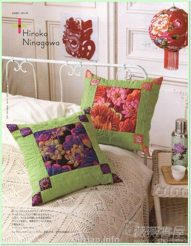 Цветочный дизайн в пэчворке, подушка и одеяло.