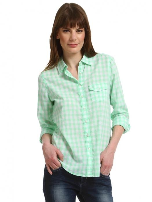 Colins Mint/beyaz Kareli Gömlek