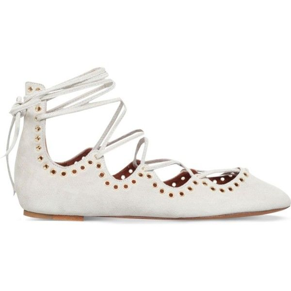 ISABEL MARANT Leo tie-up suede ballerina flats ($415) ❤ liked on Polyvore featuring shoes, flats, winter wht, pointed toe ballet flats, ballet flats, embellished flats, embellished ballet flats and pointy-toe flats
