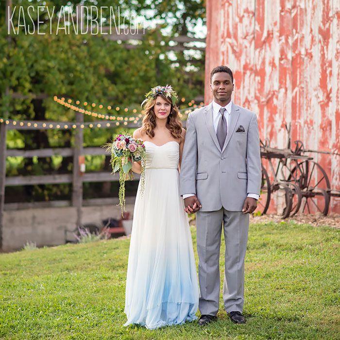 vestido de casamento moderno dip dye                              …