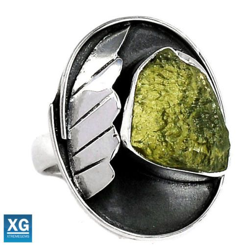 Genuine-Czech-Moldavite-925-Silver-Ring-s-8-5-SR47923