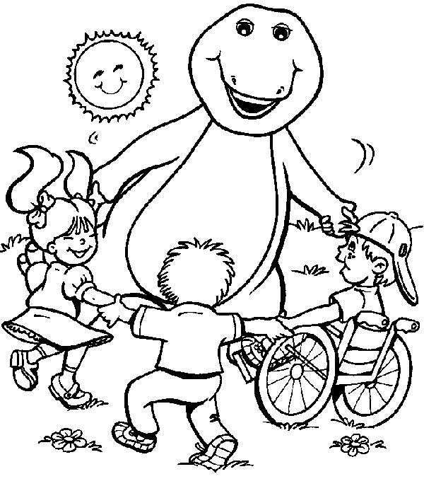barney playing with children coloring pages for kids printable barney coloring pages for kids
