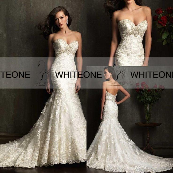 2015 spring vintage mermaid wedding dresses lace custom made plus size chapel train beads trumpet wedding