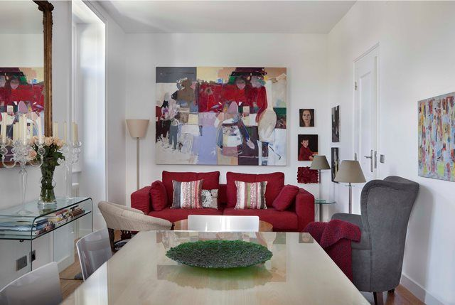 Living room, red and grey. Fusion Design Project