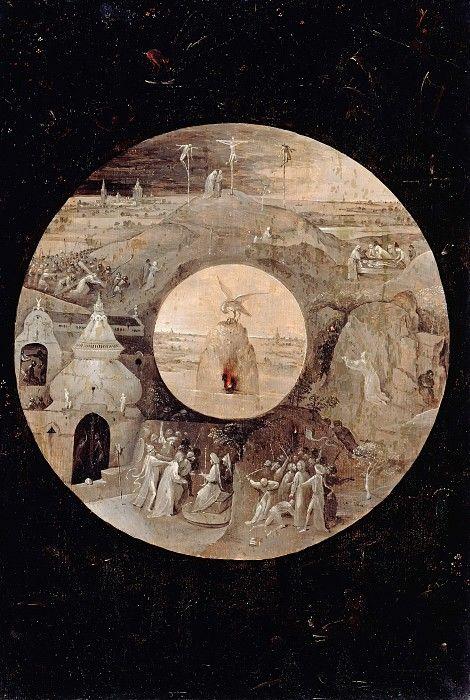 Босх, Иероним (c.1450-1516) - Иоанн Богослов на Патмосе (обратная сторона) - Страсти Христовы.