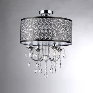 Shane Chrome and Crystal Round Shade Flush-mount 4-light Fixture   Overstock™ Shopping - Great Deals on Warehouse of Tiffany Chandeliers & Pendants