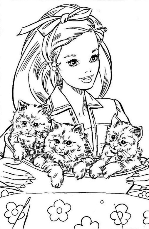 Barbie Playing With Kitten Coloring Pages