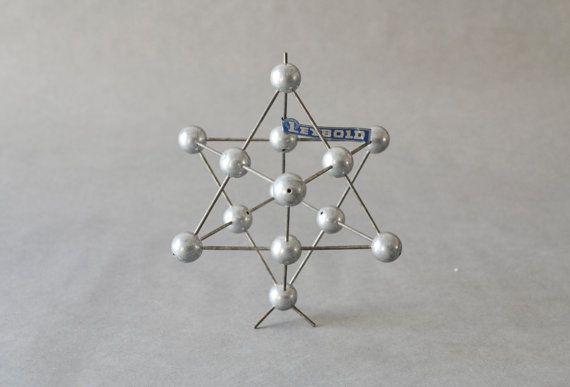 Vintage cuivre moléculaire atom modèle chimie laboratoire approvisionnement géométrique sculpture matériel didactique