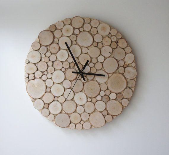 bouleau naturel forêt bois horloge (Large) - chaleur et initiales, horloge murale rustique moderne, tranches de bois murale art, arbre branche tenture