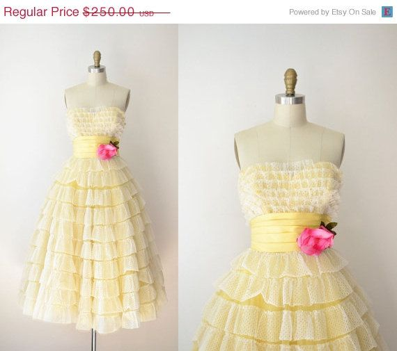 SALE 1950s Prom Dress / 50s Yellow Eyelet Party Dress