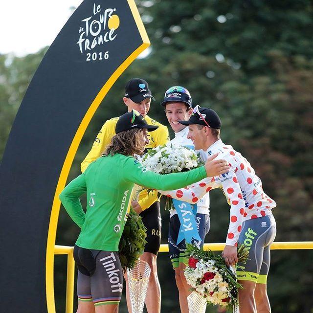 The champions of the Tour de France 2016; Peter Sagan, Chris Froome, Adam Yates and Rafal Majka