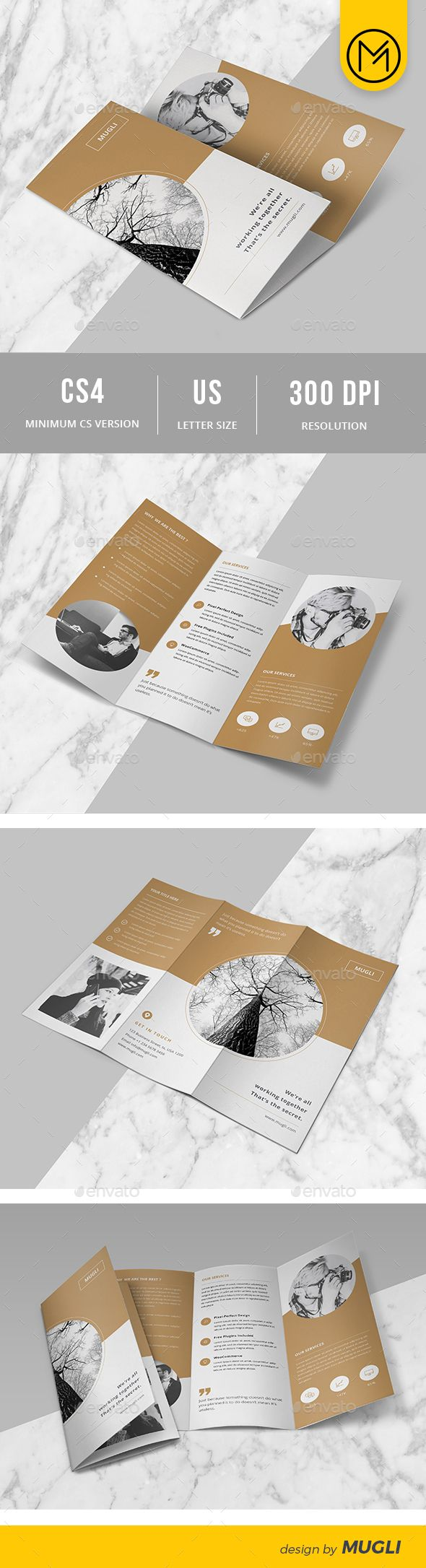 Trifold Brochure — InDesign INDD #marketing #3 fold • Available here → gra...