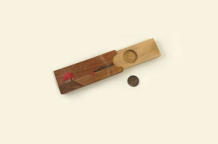 Disappearing Coin Magic Trick, Vintage Wooden Slide Box, Child or Beginner Magic Show Prop, Made in Japan by MomsantiquesNthings on Etsy