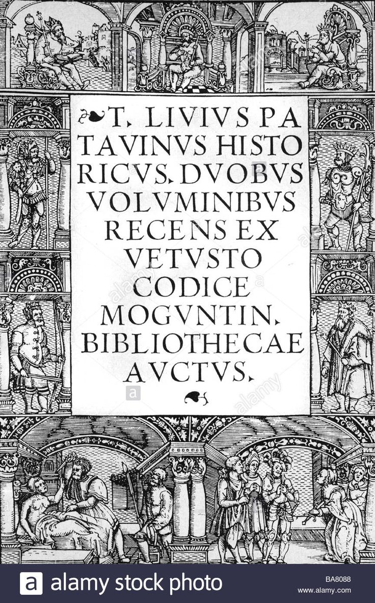 "Livy (Tutus Livius), 59 BC - 17 AD, Roman historian, works, ""Ab urbe condita"", title, printed by Johann Schoeffer, Mainz, 1518, Stock Photo"