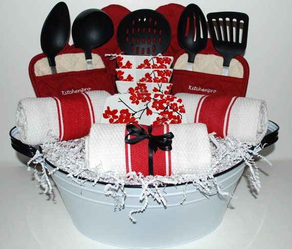 Kitchen essentials gift basket idea. Perfect housewarming or bridal shower gift. ♥ Follow us on Twitter @Lynne Schneider For Life of Vinings - Smyrna, GA and Like us on https://facebook.com/RelayForLifeOfViningsSmyrnaGA Get involved or make a tax-deductible donation>> https://RelayForLife.org/ViningsSmyrnaGA