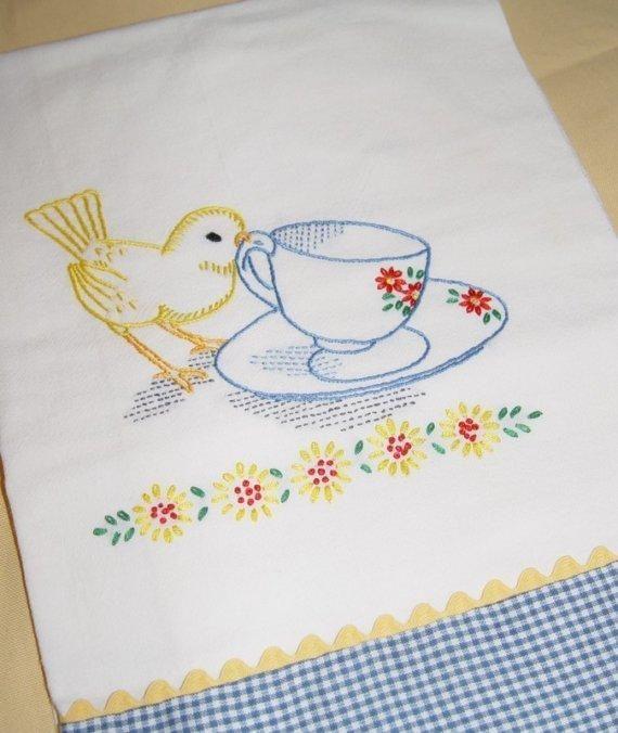 Tea Time for Little Bird Tea Towel - via @Craftsy  Lovely work.