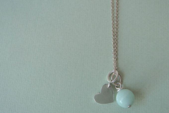 Chain with mini heart and aventurine charms by Chey Michau Jewellery
