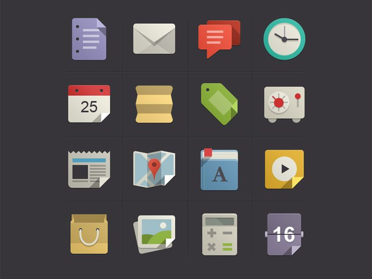 Flat Design Icons Set Vol1
