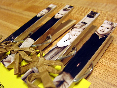 Magnetic photo clothespins. Mother's Day gift idea!
