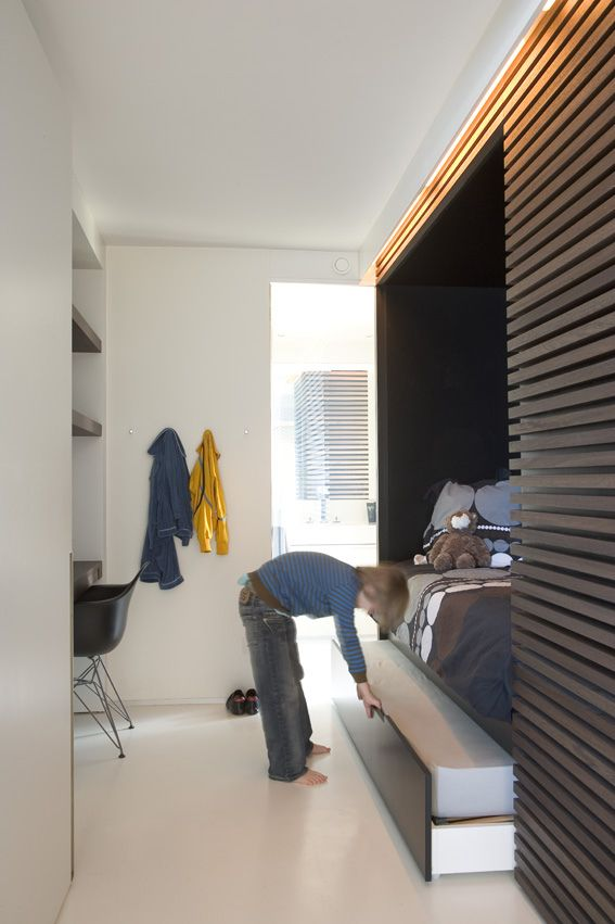 the boo and the boy: built-in kids' beds - great storage & desk in a small space