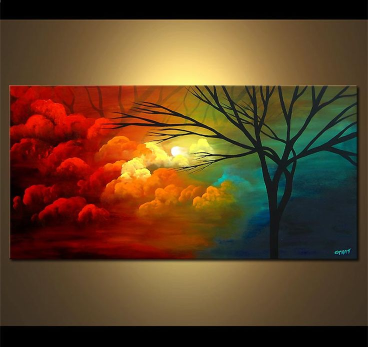 Original abstract art paintings by Osnat - clouds painting