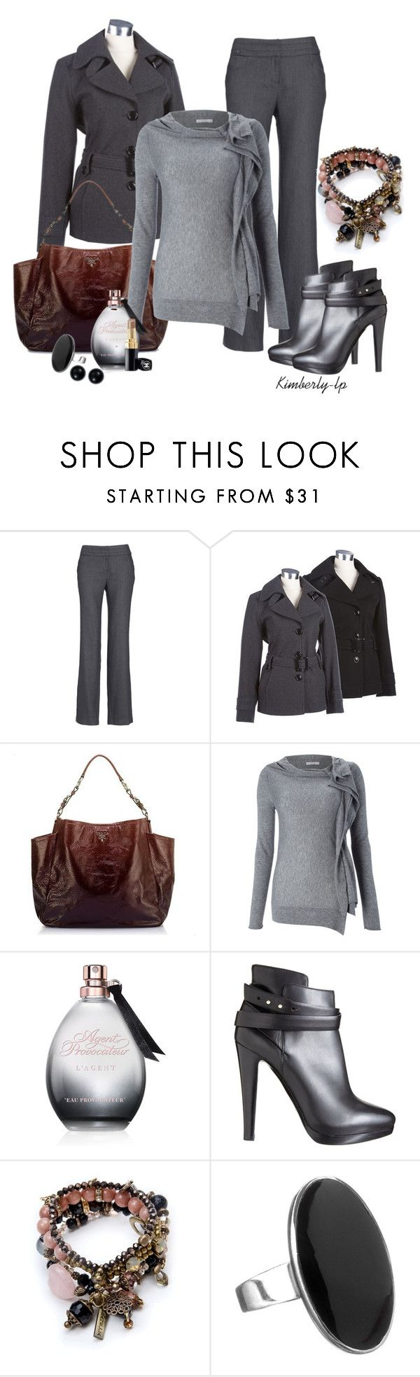 """""""Grey Matters"""" by kimberly-lp ❤ liked on Polyvore featuring Monsoon, Prada, Marella, Agent Provocateur, Giorgio Armani, Simply Silver, Blue Nile and Chanel"""