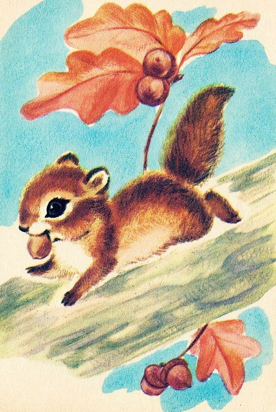 Happy squirrel with an acorn by Marge Opitz