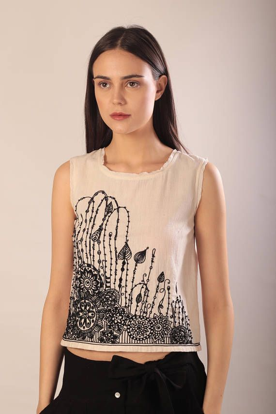 76b50e3e0a59d embroidered tank top for women  khadi  tank  top  khadi cotton  embroidery   boho  boho chic