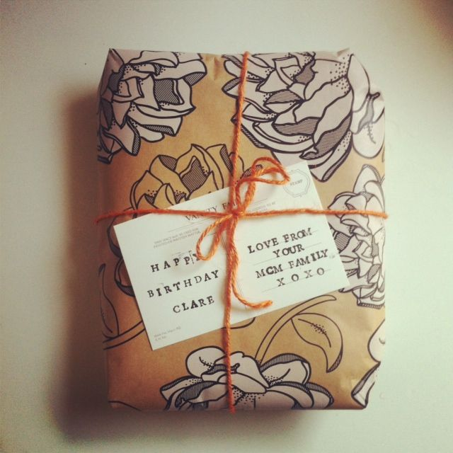 For her 30th | Illustrated brown paper wrapping & string, vintage postcard | Masini & Chern pyjamas