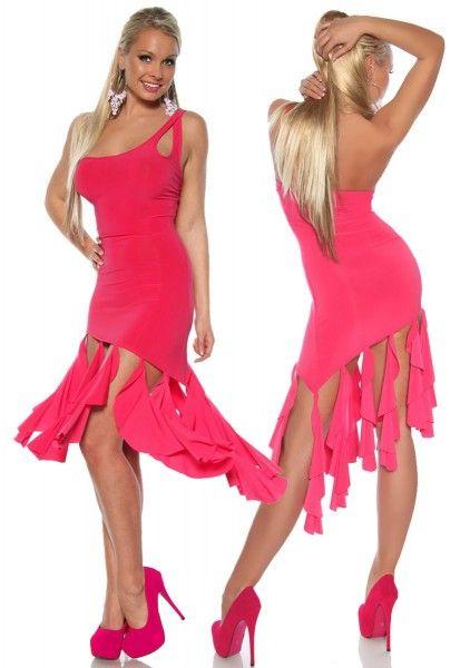 Asymmetrisches One-Shoulder Salsa Kleid mit Fransen in pink