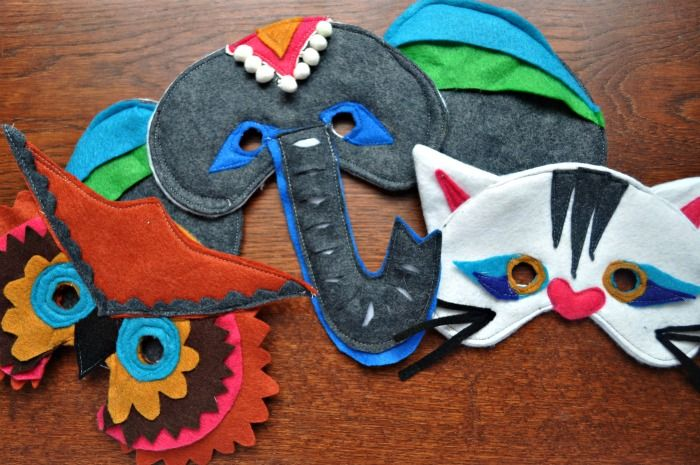 Masks (elephant, cat, owl)