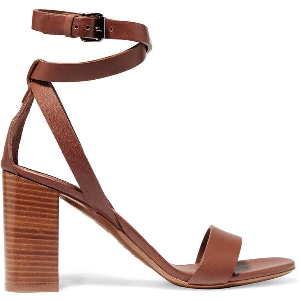 Vince Farley leather sandals (1.250 HRK) ❤ liked on Polyvore featuring shoes, sandals, heels, tan, heeled sandals, leather sandals, high heeled footwear, tan high heel sandals and leather strap sandals