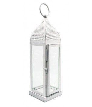 Lampion metalowy biały w stylu indyjskim