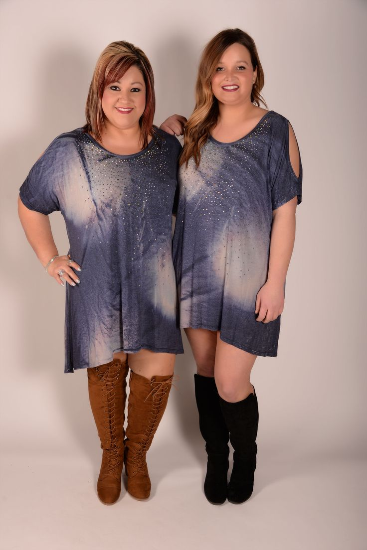 It's All Or Nothing Navy Open Shoulder Tie-Dye Tunic - C126NV