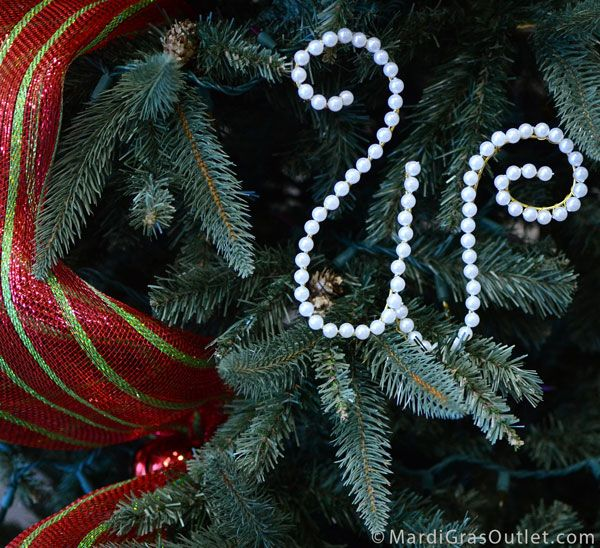 Decorate Christmas Tree With Beads: Beaded Pearl Letter Crafts- Christmas Tree Decorations Or