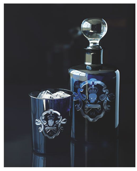 Black crystal detailed with a hand-cut skull-and-crossbones motif, the Ralph Lauren Home Ayers barware collection
