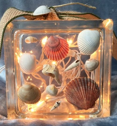 Decorative Glass Block with Shells and Christmas Lights.... http://www.completely-coastal.com/2016/11/beach-glass-block-Christmas-lights.html