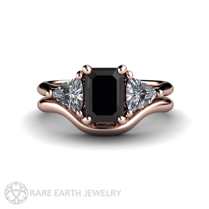 Black Diamond Wedding St Engagement Ring 3 Stone Vintage Black Diamond Ring Unique Engagement 14K or 18K Gold by RareEarth on Etsy https://www.etsy.com/listing/222860966/black-diamond-wedding-st-engagement-ring