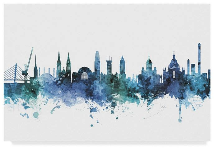 Michael Tompsett Helsinki Finland Skyline Blue Canvas Art – 37 x 49