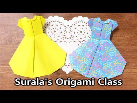 [Paper TV] Origami Dress 종이접기 드레스 折り紙 ドレス como hacer vestido de papel vestido de papel - YouTube