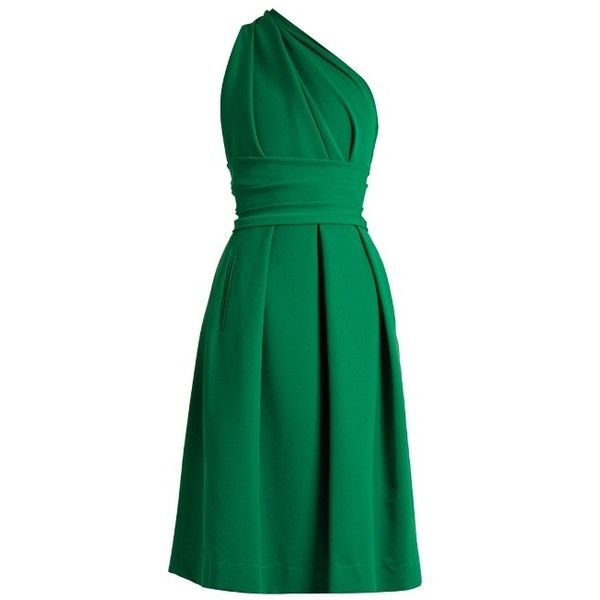Preen By Thornton Bregazzi Athena one-shoulder stretch-cady dress ($1,098) ❤ liked on Polyvore featuring dresses, green, green cocktail dress, stretch satin dress, one shoulder drape dress, pleated dress and satin dress
