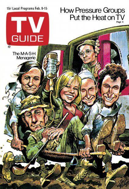TV Guide February 9, 1974 - Gary Burghoff, Alan Alda, Loretta Swit, Larry Linville, Wayne Rogers and McLean Stevenson of M*A*S*H*.  Illustration by Jack Davis