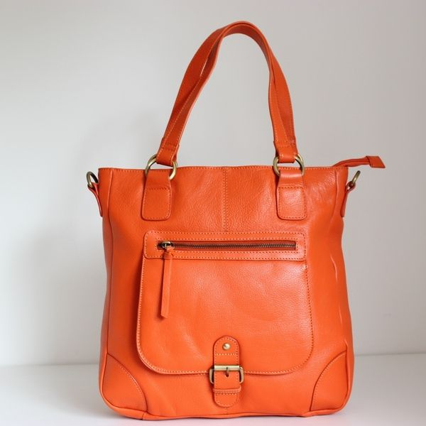 Grande Sac Voyage en Cuir orange de The Leather Store sur DaWanda.com