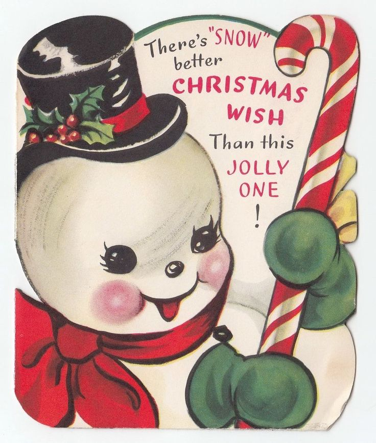 Vintage Greeting Card Christmas Cute Snowman Candy Cane Great Graphics Inside