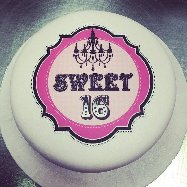 This Sweet 16 edible ink image makes a classic yet bold statement. Add a couple more tiers and some crystal trim and you're ready for a party #sweet16 #GreekBakery #Toronto #Danforth #greektown #PapeVillage #sweet #cake #customcakes