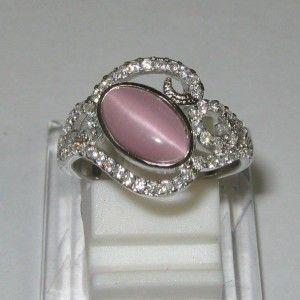 Cincin Pink Quartz Cat Eye Size 7US