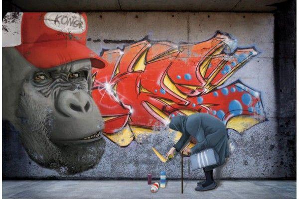Papier peint original Gorille Tag - Izoa